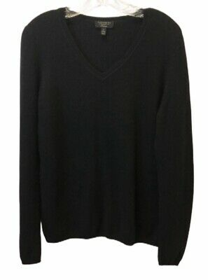 Cashmere Charter Club Luxury Womens Large Black V Neck Pullover Sweater
