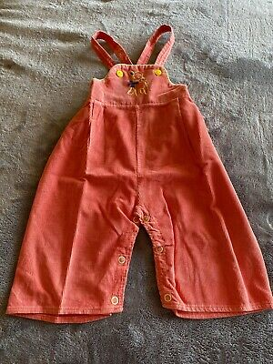 Vintage 1950s Baby Outfit Corduroy Overalls For 1yr Old With Lamb Design Rare!