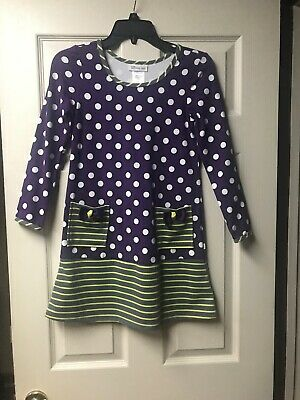 Bonnie Jean Girls Purple Polka Dot Long Sleeves Shift Party Dress  Sz 10