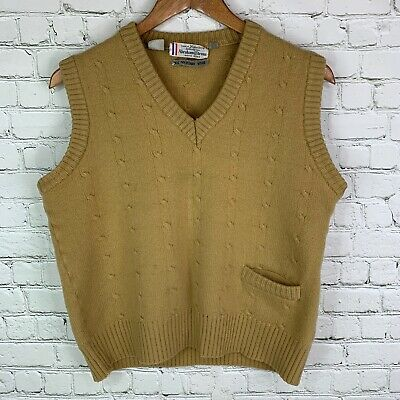 Men's Vintage Abraham & Strauss (S/M) Tan Knit 100% Wool Vest