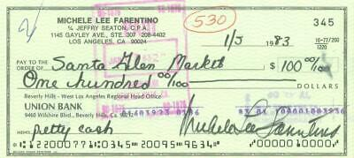 Michele Michelle Lee Signed Personal Check