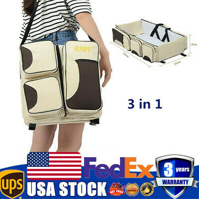 3in1 Carrycot Baby Bed Diaper Tote Bag Travel Bassinet Nappy Changing Station US