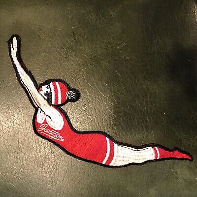NOS large 10 inch diving girl lady embroidered patch JANTZEN swimwear Vtg