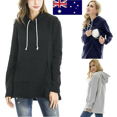 Womens Breastfeeding Maternity Long Sleeve Hoodie Casual Loose Sweatshirt Top
