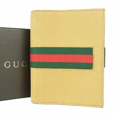 Sale! GUCCI Web Canvas Agenda Cover Daily Planner Italy F/S 10988bkac