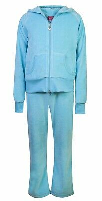 Love Lola Childrens Girls Velour Tracksuit Turquoise Age 4/5