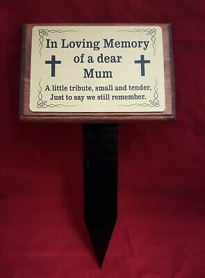 Wooden Memorial Stake Grave/Tree Marker Cremation with Personalised Plaque