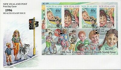 New Zealand 1996 Health Stamps Child Safety Minisheet Fdc Lot 7074B