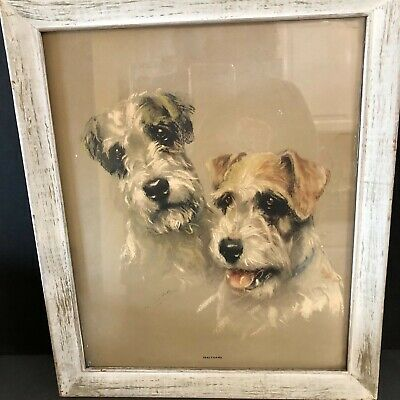 Sealyham Terriers Print Mabel Gear Framed Lithograph Vintage Animal Rescue Gift