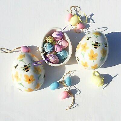 Gisela Graham Easter Floral Bee Ceramic Egg Container Ornament Gift Child Mum