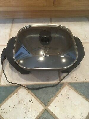 "Oster Electric Skillet 12"" Clean Vented Lid Tested"