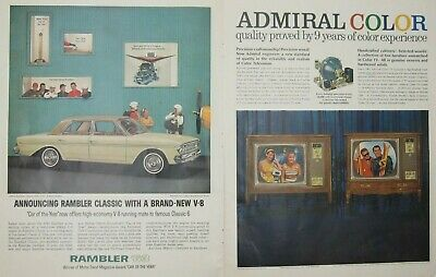 """1963 Rambler """"Car of the Year""""/Chesterfield King/Admiral Color TV Print Ads (B3)"""