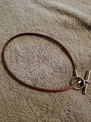 Authentic HERMES Logos Choker Necklace Leather Brown Silver Accessory