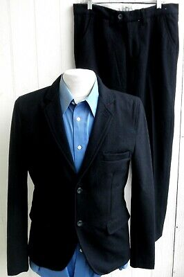 BELLFIELD Mens Black Wool-Blend Two-Button Two-Piece Suit Medium 36R 33x28