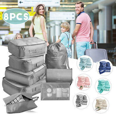 8Pcs Storage Bag Packing Cubes Travel Pouches Luggage Organiser Clothes Suitcase
