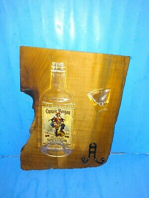 VTG Captain Morgan Original Spiced Rum Melted Glass  Hardwood Wall plaque 16x12