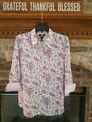 Chaps by Ralph Lauren Sz. Large Pink/Pearl Paisley No-Iron Shirt