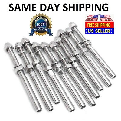 """T316 Stainless Steel Swage Threaded Tensioner End Fittings 1/4"""" Cable Railing"""