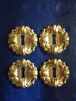 Lot 4 Vintage Pressed Stamped Brass Key Hole Escutcheon Cover Keyhole Plate