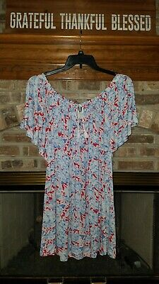 Chaps by Ralph Lauren Sz. 3X Red/White/Blue Floral Peasant Top NWT