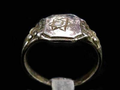 RARE ANTIQUE 1800's. JEWISH STERLING SILVER RING, STAR OF DAVID!!!