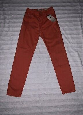 Zara Basic Denim Mom Fit Coral High Rise Skinny Jeans Size 0 New With Tags