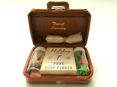 Vintage Travel Laundry Kit Holiday Soap Flakes Mini Suitcase Clothes Pins