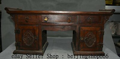 "21"" Old Chinese Huanghuali Wood Dynasty Palace 3 Drawer 2 Cupboard Desk Table"