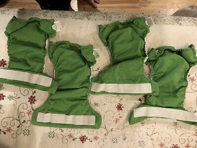 Lot Of Four Ribbit Green bumgenius cloth diapers Freetime All-in-one With Velcro