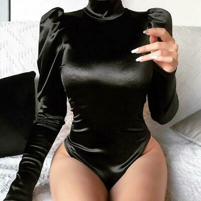 Womens Sexy Puff Sleeve Catsuit Mock Neck Slim Gothic Club Party Bodysuit Zsell