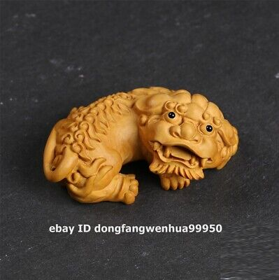 8.5 cm China Lobular boxwood wood auspicious Foo dog lion pixiu qilin sculpture