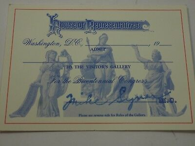 Original House of Representatives Admission to Visitors Gallery 101st Congress