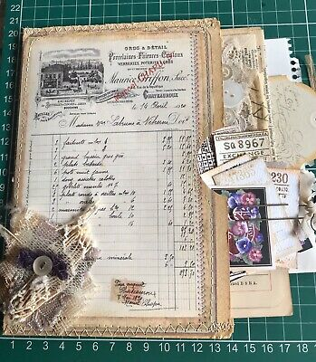 Hand made Shabby Chic Folder Pocket Pouch Vintage Book Pages For Junk Journal