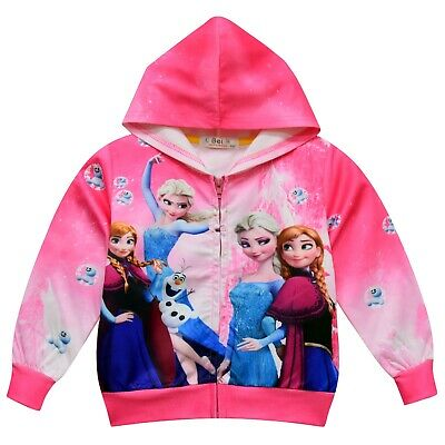 Frozen Elsa and Anna girls baby toddler hoodie top thin jacket size 3-8 au stock
