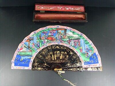 Large Antique Chinese Export Fan 1000 Faces & Original Lacquer Box Canton 1850