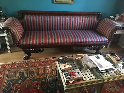 Antique Empire Sofa, With Carved Details, Mahogany Frame And Period Upholstery