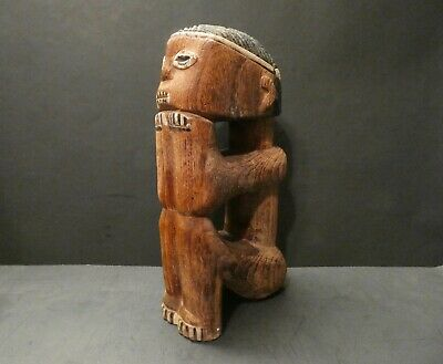 "Primitive Folk Art Wood Carving- 1960's Arican Figure- 11""  x 5 3/4"" x 3"""