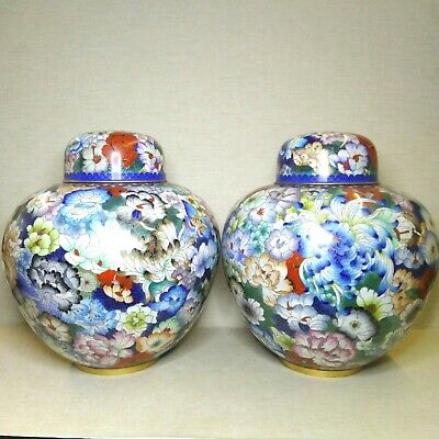 Vintage A pair of Chinese Cloisonne vases, 20th century.