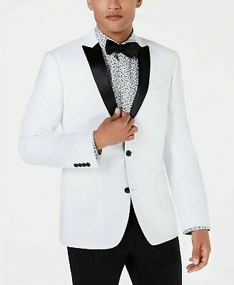 $450 Bar III Mens White Slim Fit Solid Sport Coat Blazer Stain Dinner Jacket 38S
