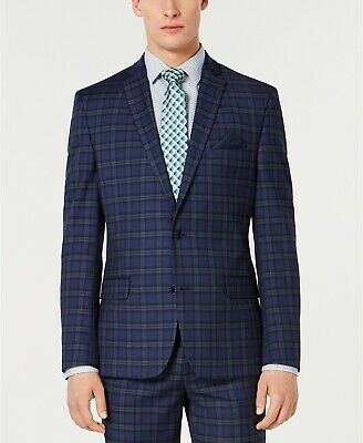 $275 Bar III Men's Slim-Fit Stretch Dark Blue Plaid Suit Jacket 36R Sport Coat