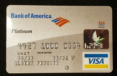 Bank of America Platinum Visa exp 2002♡free ship♡cc1307♡♤◇♧Olympic Sponsor