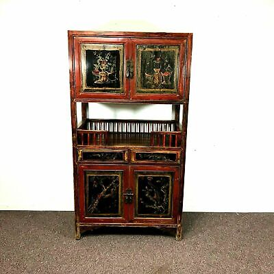 Vintage Chinese Lacquered and Paint Decorated Cabinet