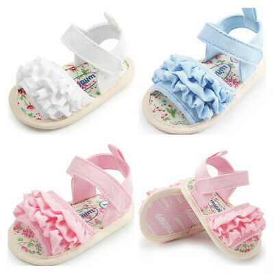 Newborn Baby Girl Crib Shoes Infant Child Agaric Lace Ankle Summer Sandals 0-18M