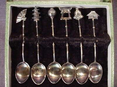 Fabulous Vintage Set Sterling Silver Japanese Demitasse Figural Spoons  Boxed