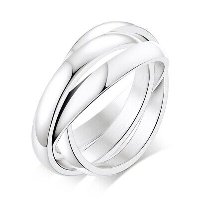 316L Stainless Steel Triple Tone Tri-Roll Band Women Simple Silver Polished Ring