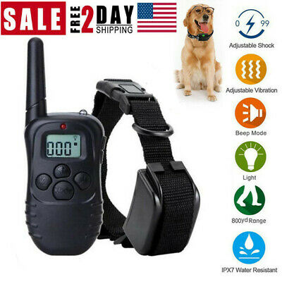 Electric Dog Pet Shock Training Collar Waterproof Rechargeable Remote 330Yard