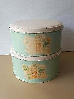 Vintage TWO ROUND WILLOW BISCUIT CAKE TINS PAINTED SHABBY  ROSES LABEL