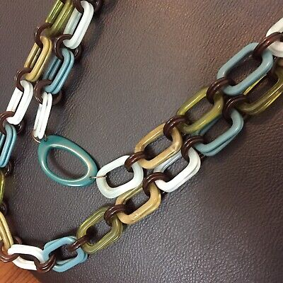 """CHUNKY Black White Brown Tortoise Shell Resin Chain Links 24/"""" Long Necklace"""