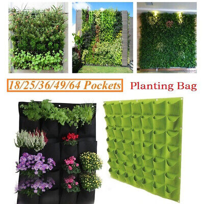 Pocket Wall Hanging Planting Bag Vertical Flower Grow Pouch Planter Garden