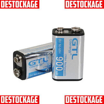 LOT 2 x PILE ACCU DURACELL CHARGEABLE 9V 900mAh Ni-Mh 6F22 6LR6 BATTERY BATTERIE